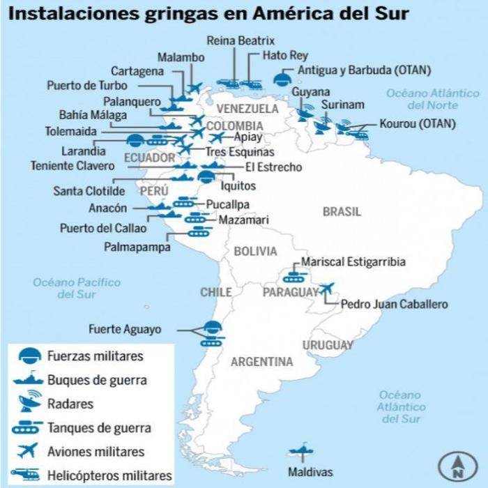 Algumas instalações militares estadunidenses na Amèrica do sul