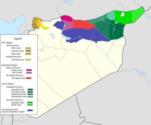 Nova divisão administrativa de Rojava, áreas ainda não declaradas em azul