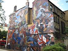 Pintura moderna que descreve os eventos da Batalha de Cable Street.